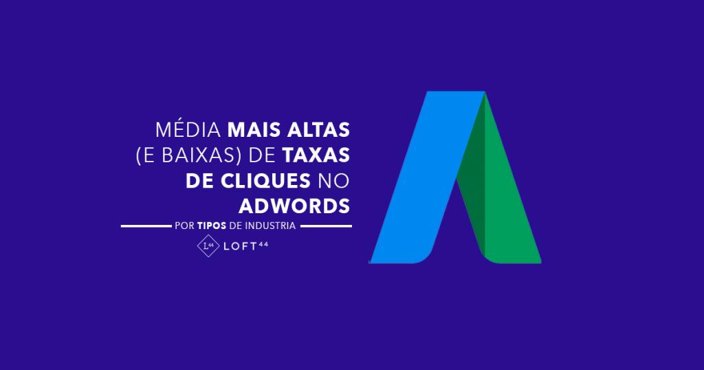 Média de taxas de cliques no AdWords por tipos de indústrias - ecommerce por Loft44 - Flow Commerce