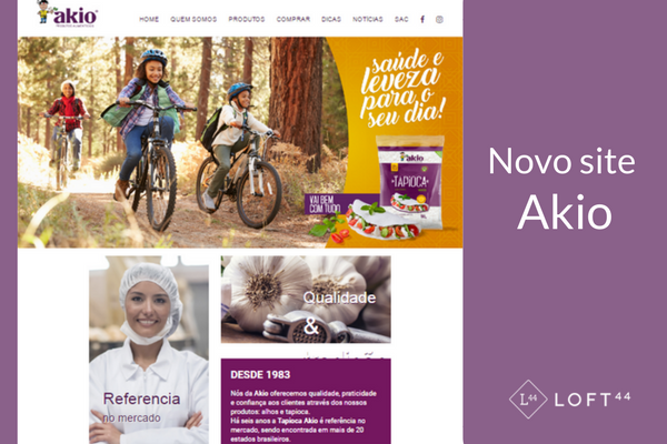 Novo website em WordPress da Akio Roxo Produtos Alimentícios - ecommerce por Loft44 - Flow Commerce